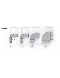 D. 114 mm curva 90° silicone